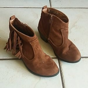 Girls suede fringed ankle boots